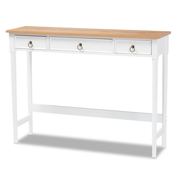 Baxton Studio Sylvie White Natural Wood 3 Drawer Console Table BAX-SR17010122-WH-NTL-CNSL