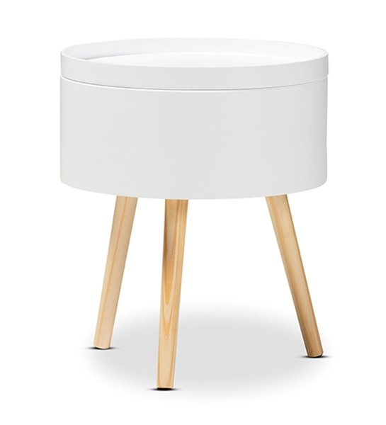 Baxton Studio Jessen White Wood Night Stand with Removable Top BAX-SR1703018-White-NS