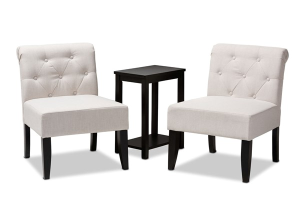 Baxton Studio Veda 3pc Fabric Black Wood Accent Chair and Table Sets BAX-C013-700-3PC-Set-VAR