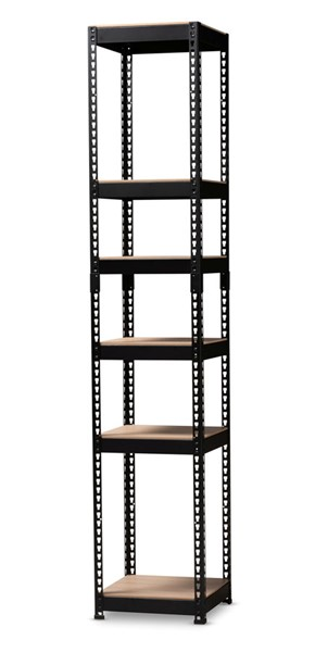 Baxton Studio Gavin Black Metal 5 Shelf Closet Storage Racking Organizer BAX-BH12-Black-Shelf