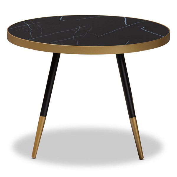 Baxton Studio Lauro Brown Black Round Coffee Table BAX-RS660-MB-CT