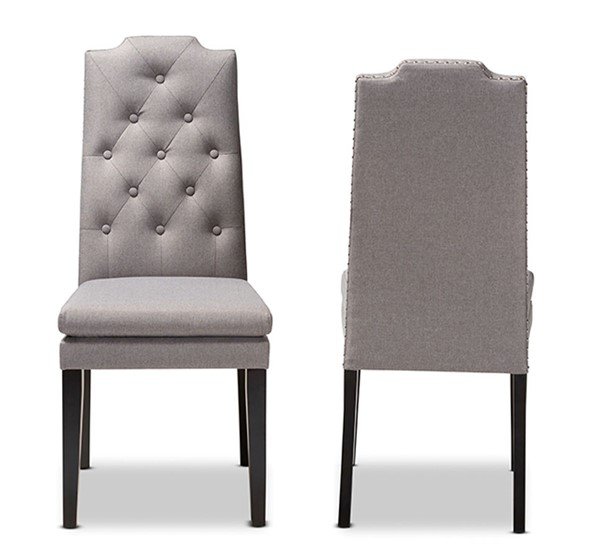 2 Baxton Studio Dylin Gray Fabric Upholstered Dining Chairs BAX-BBT5158-11-Grey-CC