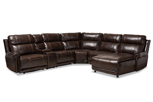 Baxton Studio Dacio Brown Faux Leather 6pc Sectional Recliner Sofa with 2 Reclining Seats BAX-R7075A-Brown-SF