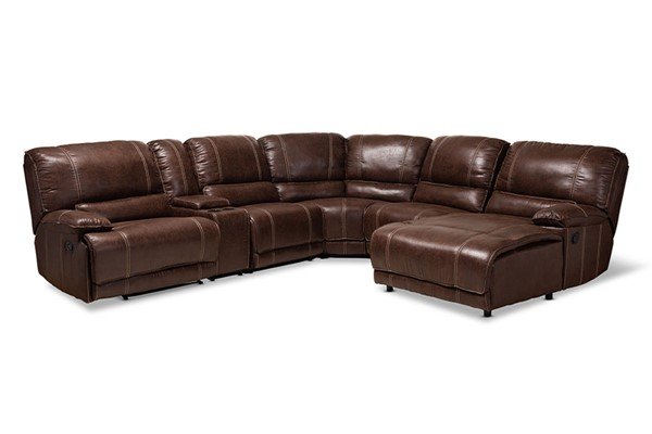 Baxton Studio Salomo Brown Faux Leather 6pc Sectional Recliner Sofa with 3 Reclining Seats BAX-R7245A-Brown-SF