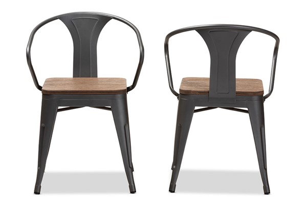 2 Baxton Studio Henri Oak Brown Metal Stackable Side Chairs BAX-T-5835-Gun-DC