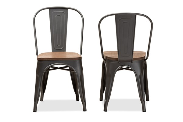 2 Baxton Studio Henri Oak Brown Metal Stackable Dining Chairs BAX-T-5816-Gun-DC