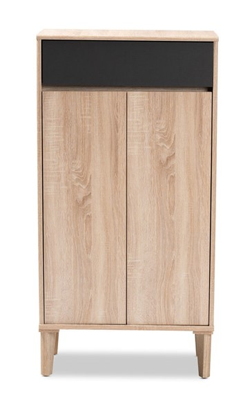 Baxton Studio Fella Oak Brown Wood Entryway Shoe Cabinet with Drawer BAX-SESC7007-OAK-SHOECAB
