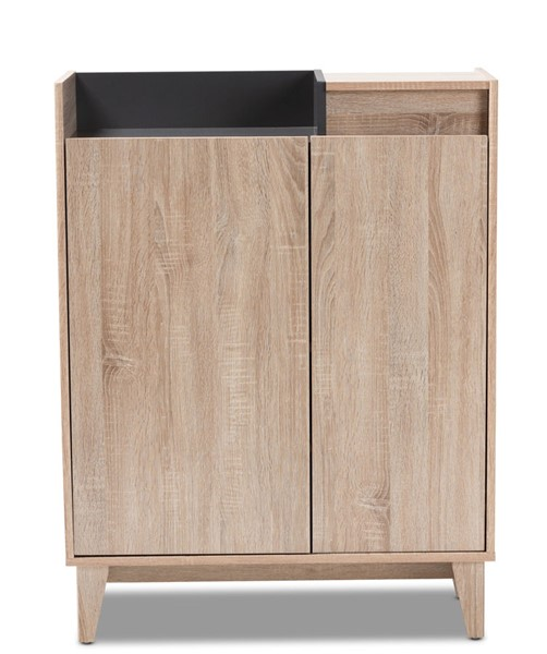 Baxton Studio Fella Oak Brown Entryway Shoe Cabinet with Lift Top Storage Compartment BAX-SESC7008HANA-OAK-SHOECAB