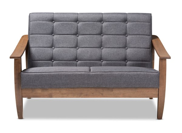 Baxton Studio Larsen Gray Fabric Upholstered Loveseat BAX-SW5506-Grey-Walnut-LS