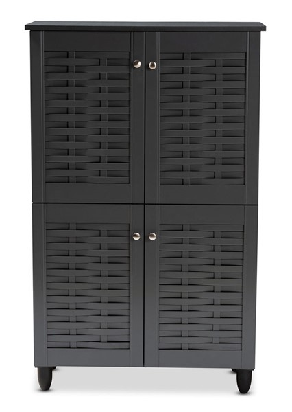 Baxton Studio Winda Dark Gray Wood 4 Doors Entryway Shoe Storage Cabinet BAX-SC864574-B-Dark-Grey-Shoe-Cabinet