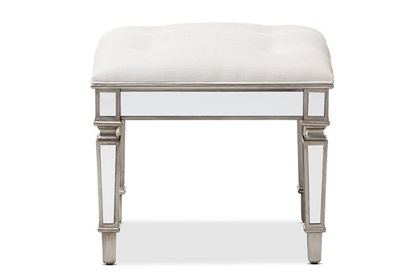 Baxton Studio Marielle White Fabric Upholstered Mirrored Ottoman Vanity Bench BAX-RS2937