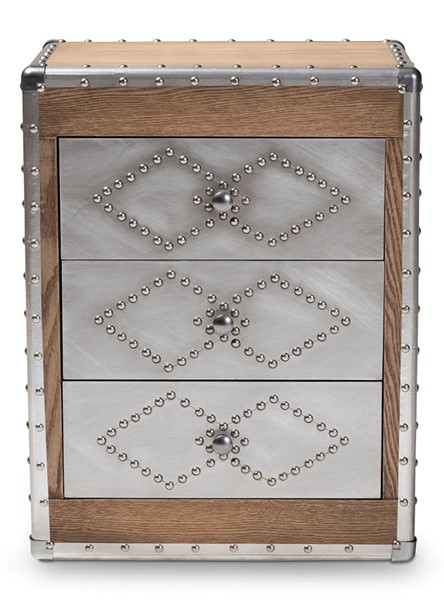 Baxton Studio Audric Oak Brown Wood 3 Drawers Storage Accent Cabinet BAX-MS17A014-LBR-CBNT