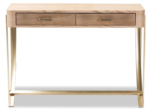 Baxton Studio Lafoy Natural Brown Wood 2 Drawers Console Table BAX-FJ2A034-LBROWN-CON