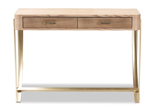 Baxton Studio Lafoy Natural Brown Wood 2 Drawers Console Table BAX-FJ2A034-Light-Brown-Console