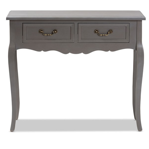 Baxton Studio Capucine Grey Wood 2 Drawers Console Table BAX-JY18A026-Grey-Console