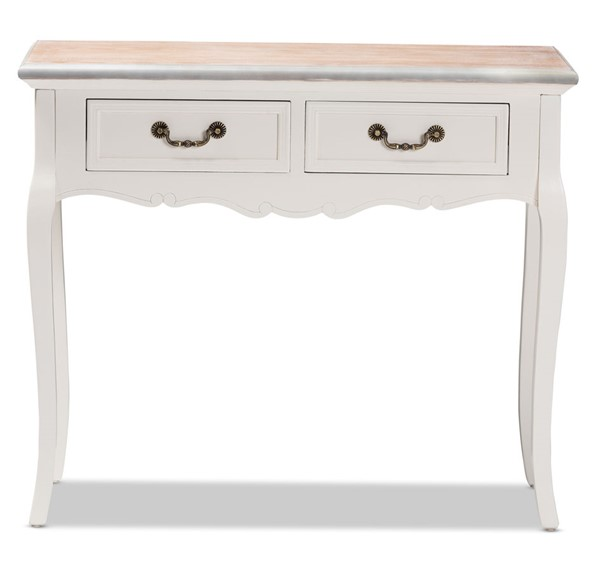 Baxton Studio Capucine Whitewashed Wood 2 Drawers Console Table BAX-JY17A022-White-Console
