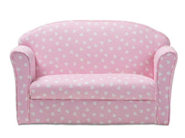 Baxton Studio Erica Pink White Heart Patterned Fabric Kids 2 Seater Sofa BAX-LD20832-Pink-SF