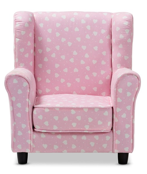 Baxton Studio Selina Pink White Heart Patterned Fabric Upholstered Kids Armchair BAX-LD2116-Light-Pink-CC