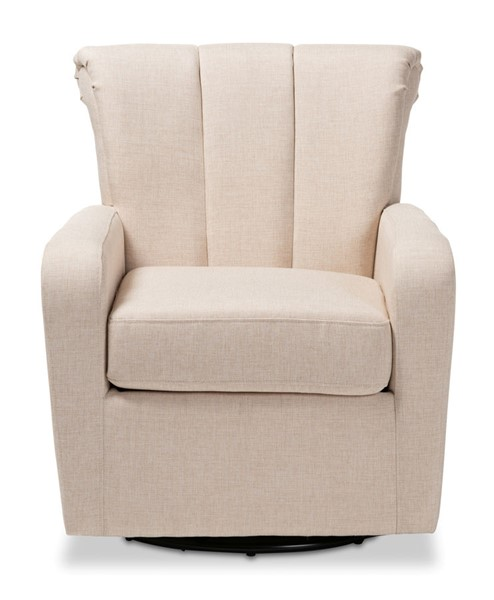 Baxton Studio Rayner Beige Fabric Upholstered Swivel Chair BAX-TSF7715-Beige-CC