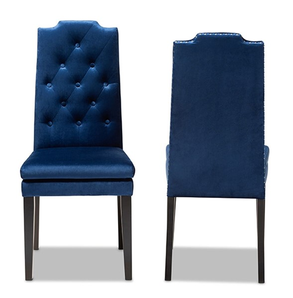 2 Baxton Studio Dylin Navy Blue Fabric Upholstered Dining Chairs BAX-BBT5158-Navy-Blue-DC