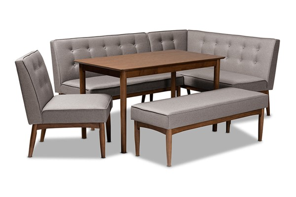 Baxton Studio Arvid Gray Fabric Walnut Brown Wood 5pc Dining Nook Set BAX-BBT8051-Grey-Walnut-5PC-Dining-Nook-Set