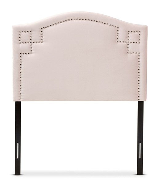 Baxton Studio Aubrey Light Pink Velvet Upholstered Twin Headboard BAX-BBT6563-Light-Pink-HB-Twin