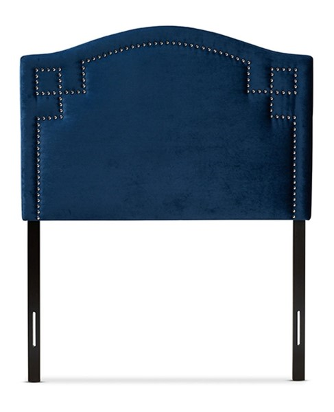 Baxton Studio Aubrey Royal Blue Velvet Upholstered Twin Headboard BAX-BBT6563-Navy-Blue-HB-Twin