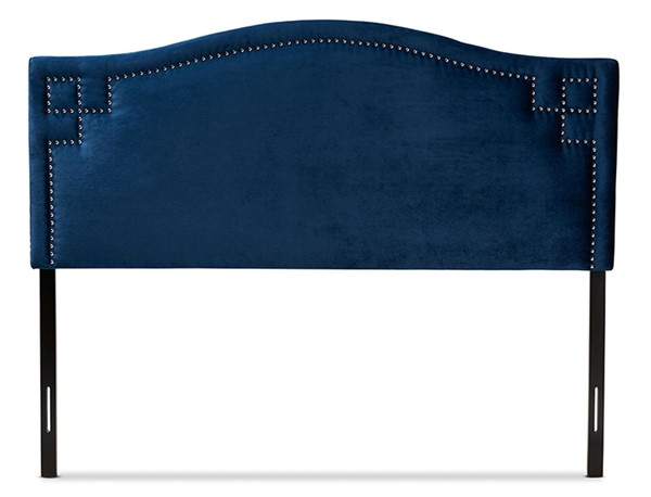 Baxton Studio Aubrey Royal Blue Velvet Upholstered Queen Headboard BAX-BBT6563-Navy-Blue-HB-Queen