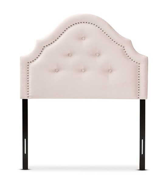 Baxton Studio Cora Light Pink Velvet Upholstered Twin Headboard BAX-BBT6564-Light-Pink-HB-Twin