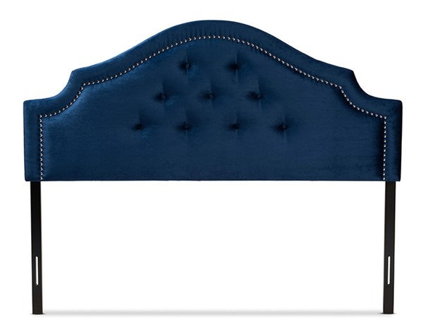 Baxton Studio Cora Royal Blue Velvet Upholstered Queen Headboard BAX-BBT6564-Navy-Blue-HB-Queen