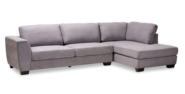 Baxton Studio Petra Gray Fabric Upholstered Right Facing Sectional Sofa BAX-U9380K-Grey-RFC-SF