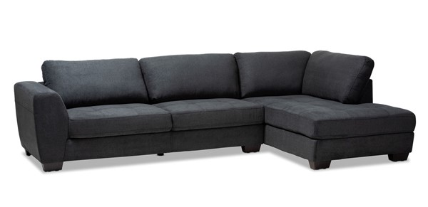 Baxton Studio Petra Fabric Upholstered Right Facing Sectional Sofas BAX-U9380K-RFC-SEC-VAR