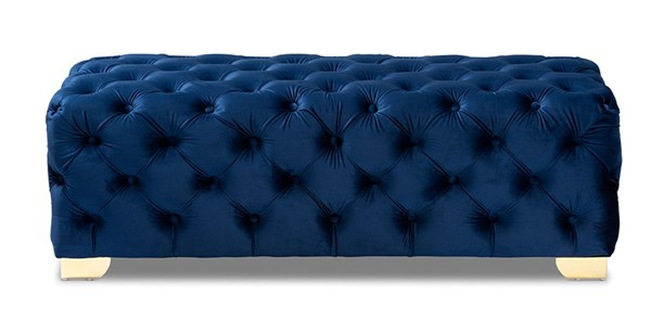 Baxton Studio Avara Royal Blue Velvet Button Tufted Bench Ottoman BAX-TSFOT028-Dark-Royal-Blue-Gold-Otto