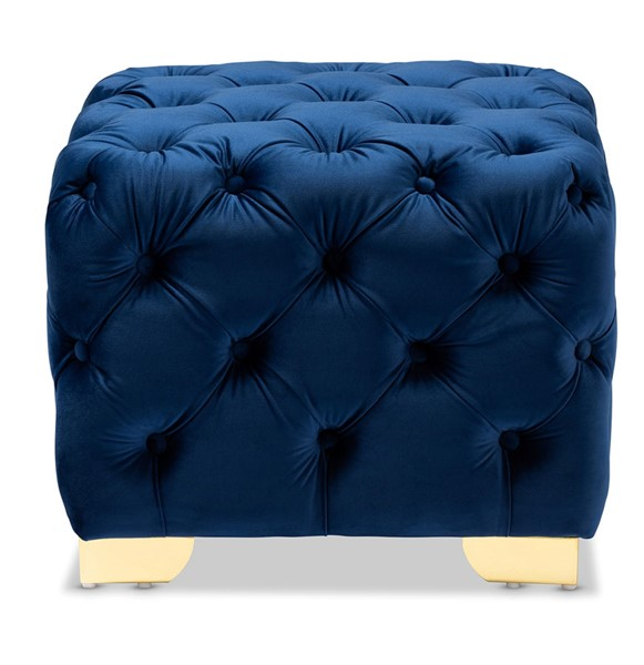 Baxton Studio Avara Royal Blue Velvet Upholstered Button Tufted Ottoman BAX-TSFOT029-Dark-Royal-Blue-Gold-Otto