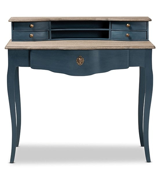 Baxton Studio Celestine Blue Oak Wood Accent Writing Desk BAX-CES2-Blue-Spruce-Desk