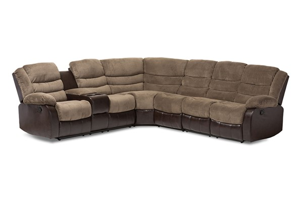 Baxton Studio Robinson Taupe Fabric Brown Faux Leather Sectional Sofa BAX-9393F-D110-Brown-SF
