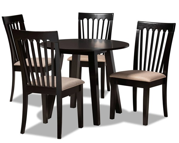 Baxton Studio Maisie Sand Dark Brown 5pc Dining Room Set BAX-Maisie-Sand-Dark-Brown-5PC-Dining-Set