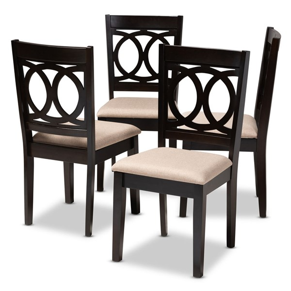 4 Baxton Studio Lenoir Sand Fabric Upholstered Dining Chairs BAX-RH315C-Sand-Dark-Brown-DC