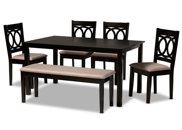 Baxton Studio Bennett Sand Dark Brown 6pc Dining Room Set BAX-RH315C-SD-DBR-6PC-DINSET