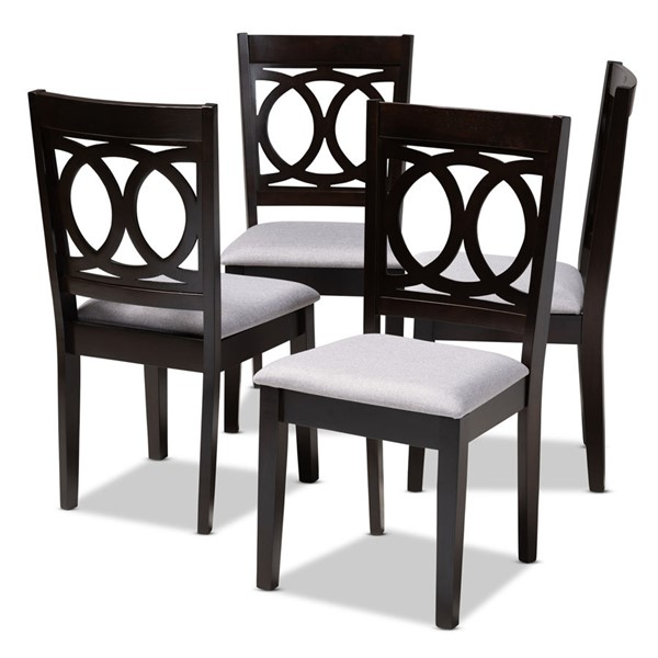 4 Baxton Studio Lenoir Gray Fabric Upholstered Dining Chairs BAX-RH315C-Grey-Dark-Brown-DC
