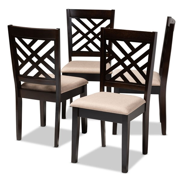 4 Baxton Studio Caron Sand Fabric Upholstered Dining Chairs BAX-RH317C-Sand-Dark-Brown-DC