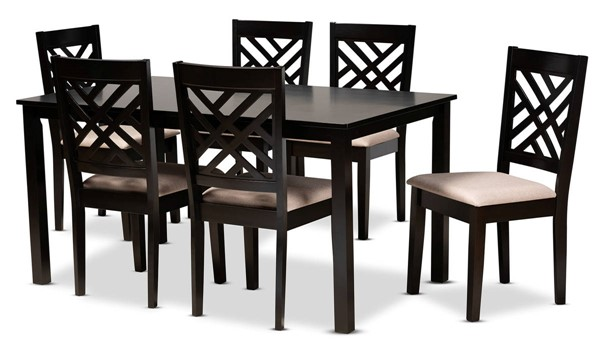 Baxton Studio Caron Sand Fabric 7pc Dining Set BAX-RH317C-Sand-Dark-Brown-7PC-Dining-Set