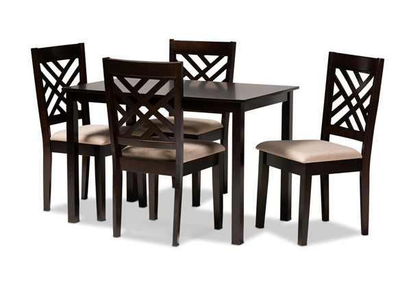 Baxton Studio Caron Sand Fabric Espresso Brown Wood 5pc Dining Set BAX-RH317C-Sand-Dark-Brown-5PC-Dining-Set