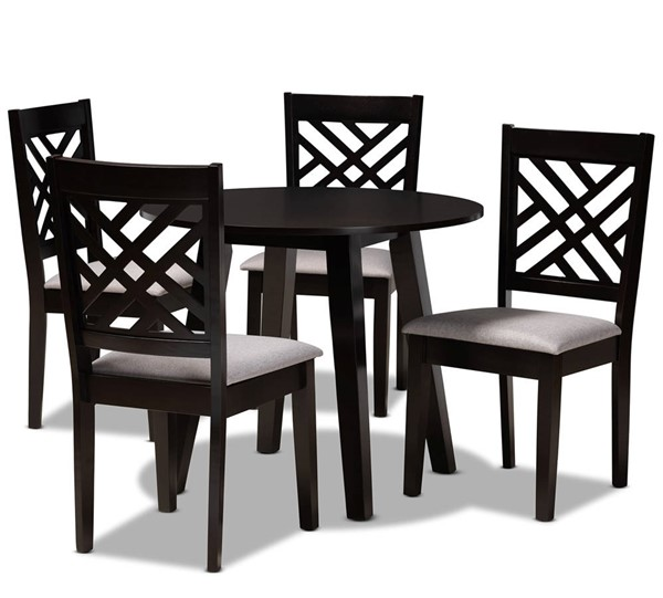 Baxton Studio Lilly Grey Dark Brown 5pc Dining Room Set BAX-LILLY-GY-DBR-5PCDINSET