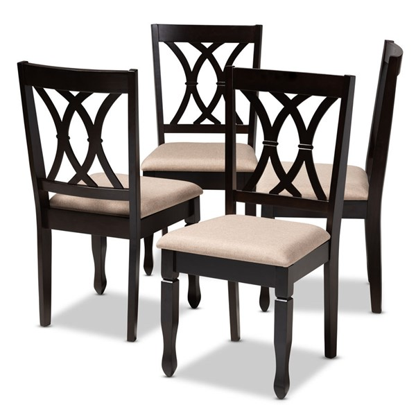 4 Baxton Studio Reneau Sand Fabric Upholstered Dining Chairs BAX-RH316C-Sand-Dark-Brown-DC