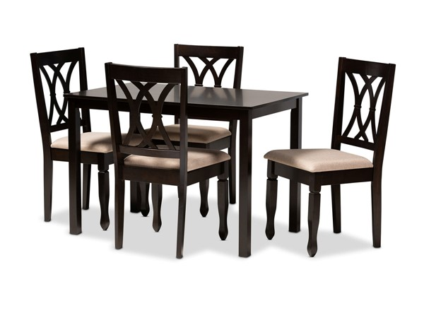 Baxton Studio Reneau Fabric Espresso Brown Wood 5pc Dining Set BAX-RH316C-5PC-Dining-Set-VAR