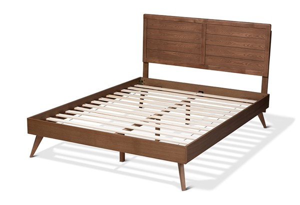 Baxton Studio Artemis Walnut Brown Wood Platform Beds BAX-Artemis-BED-VAR