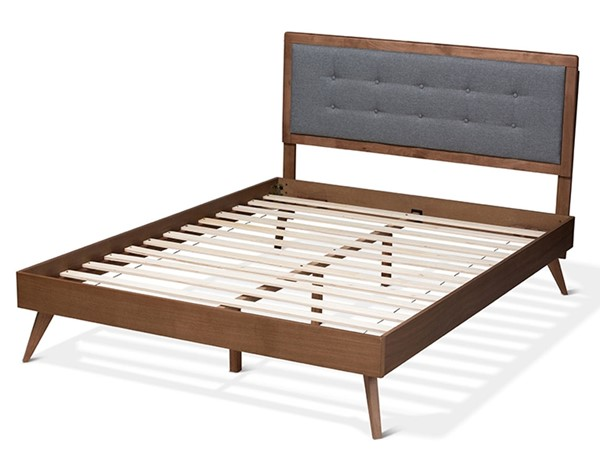 Baxton Studio Ines Fabric Walnut Wood Platform Beds BAX-Ines-BED-VAR