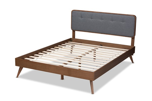 Baxton Studio Dilara Dark Grey Fabric Walnut Wood King Platform Bed BAX-Dilara-Dark-Grey-Ash-Walnut-King
