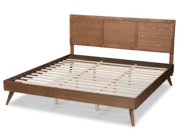 Baxton Studio Zenon Walnut Brown Wood King Platform Bed BAX-Zenon-Ash-Walnut-King